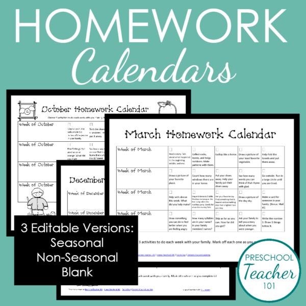 Editable Preschool Homework Calendars