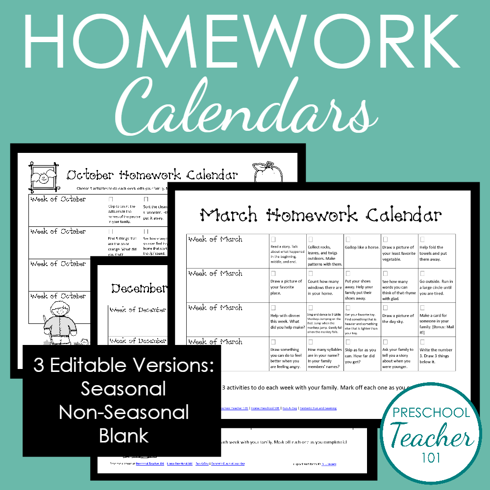 Editable Preschool Homework Calendars