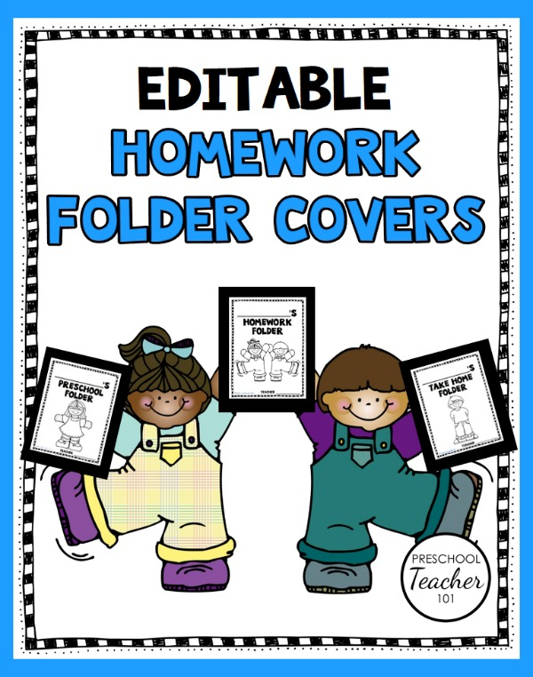 Printable Preschool Homework Folder Covers - Preschool Teacher 101