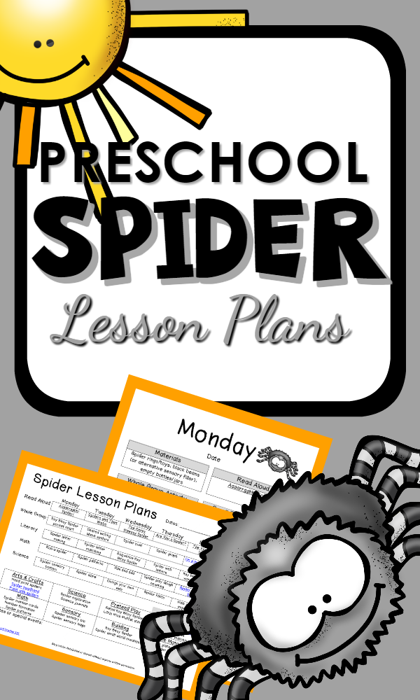 Preschool Spider Theme Printable Lesson Plans and Activities