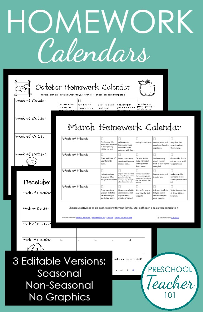 Editable and Printable Homework Calendars for Preschool from Preschool Teacher 101