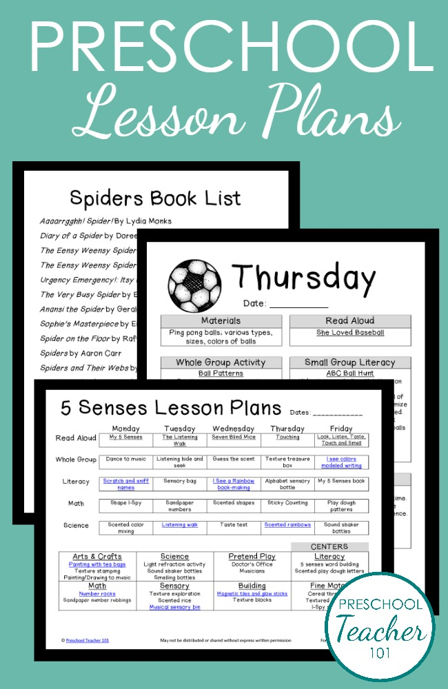 Printable Preschool Lesson Plans from Preschool Teacher 101
