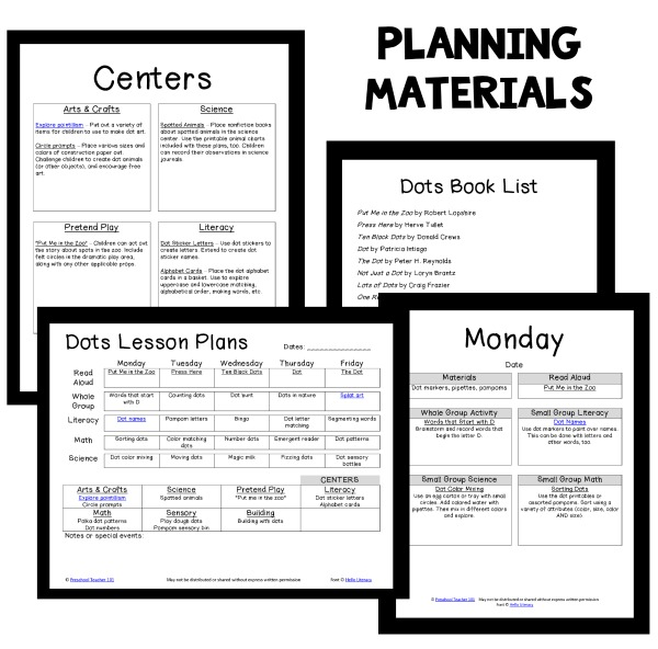 Planning materials for Dot Theme Preschool Lessons