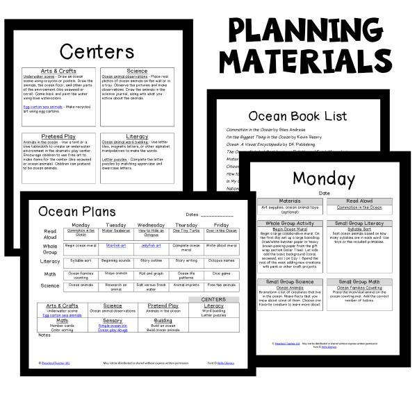 Preschool Ocean Theme Lesson Plans