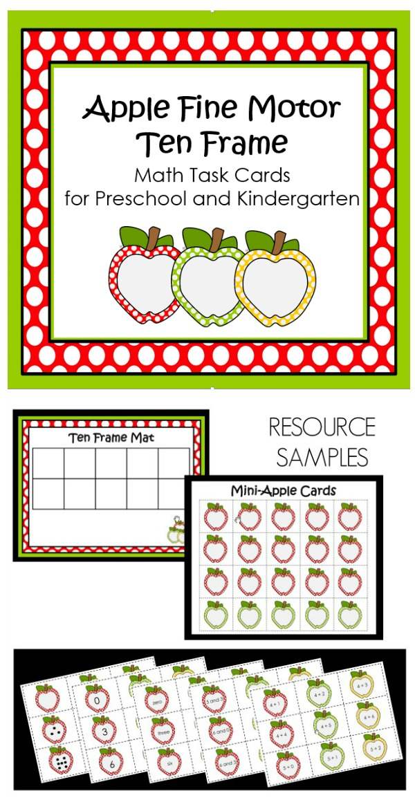 Apple Fine Motor Ten Frame Task Cards-Use these with apple manipulatives or the printabe ten frame mat that is included to practice counting, number word recognition, combinations, and addition