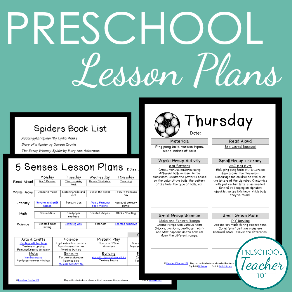 Preschool Lesson Plans Sample