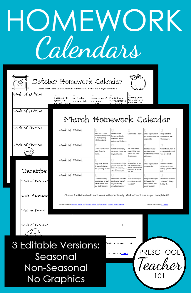printable preschool homework calendars