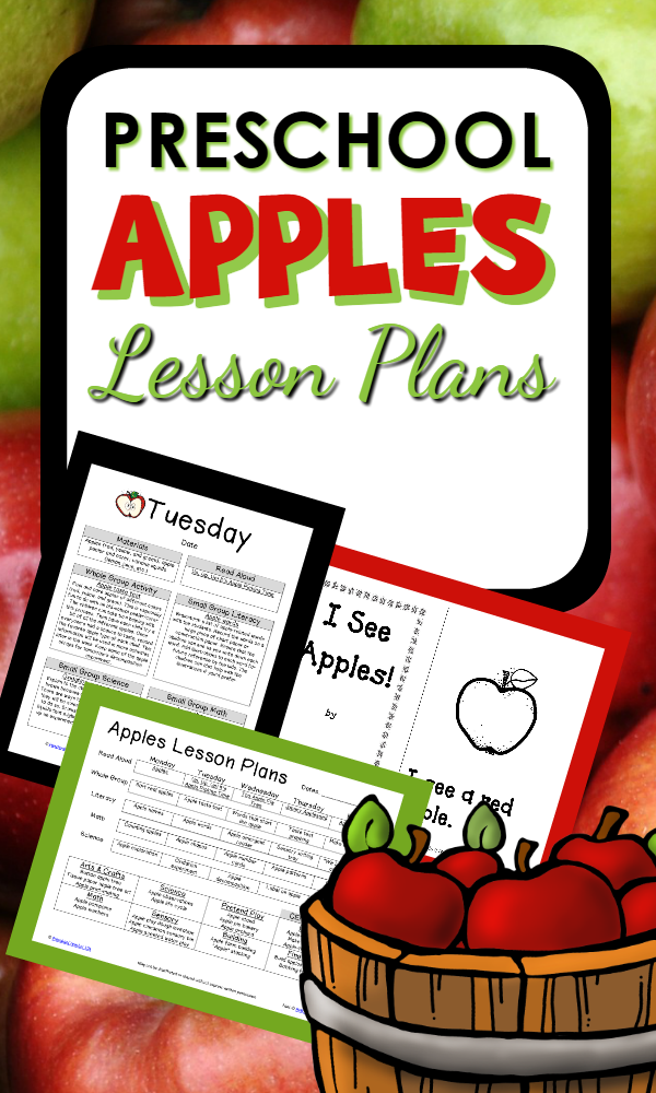 Apple Theme Preschool Lesson Plans-Includes 70 pages of printable planning materials and hands-on activities