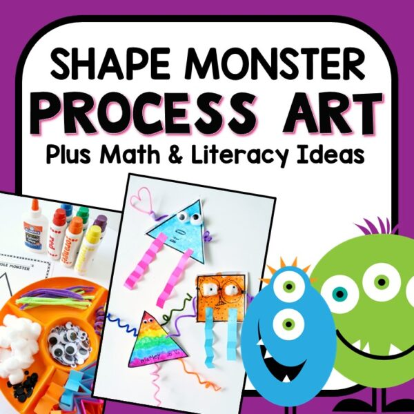 Shape Monster Art Project-Monster process art, math, and literacy activities in one