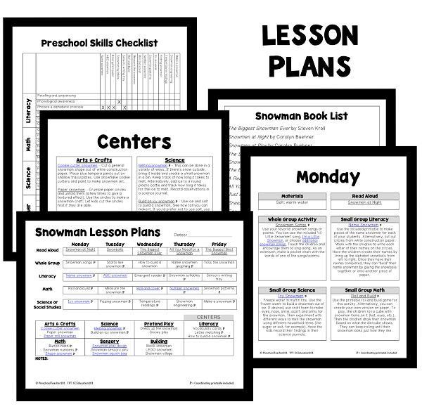 PT Planning Materials-Snowman Theme - 600