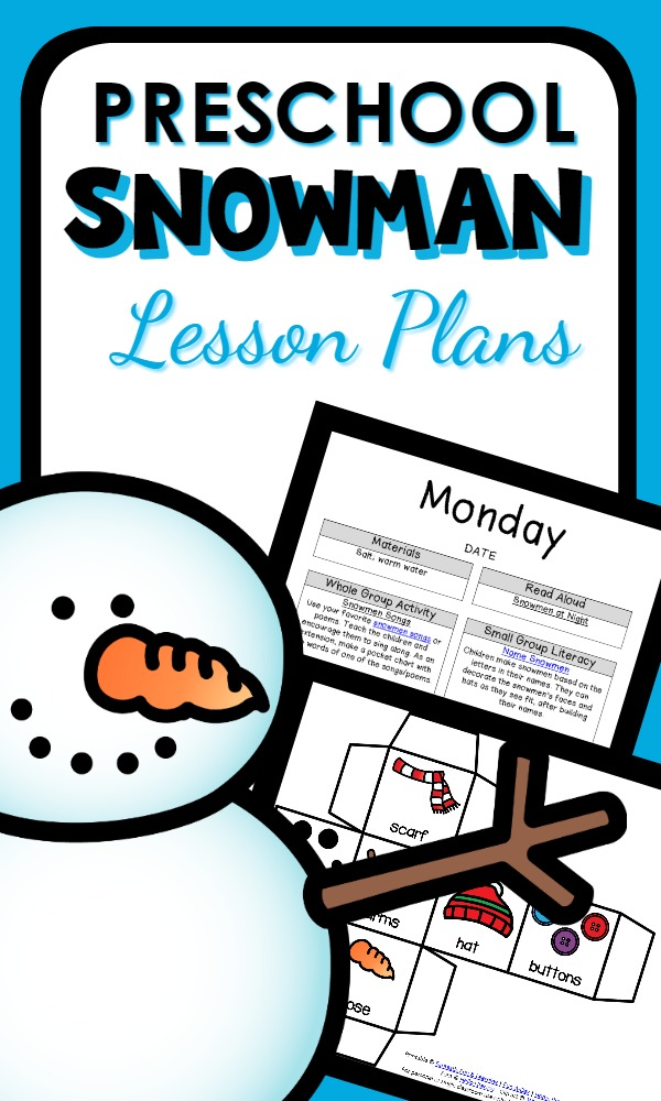 Use snowmen as inspiration for a week of learning and play with this preschool snowman theme lesson plan set full of hands-on math, reading, and science activities.
