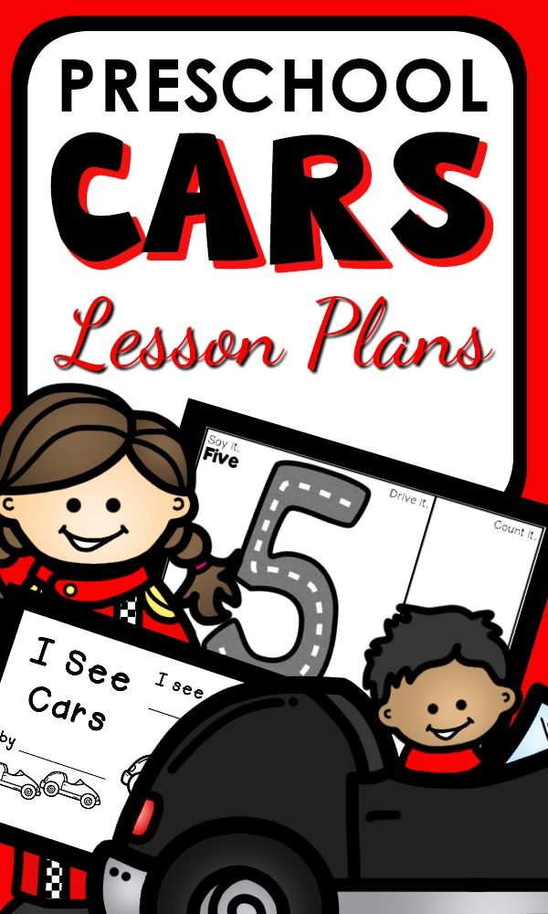 Car theme activities for preschoolers with editable lesson plans, playful learning activities, and related printables