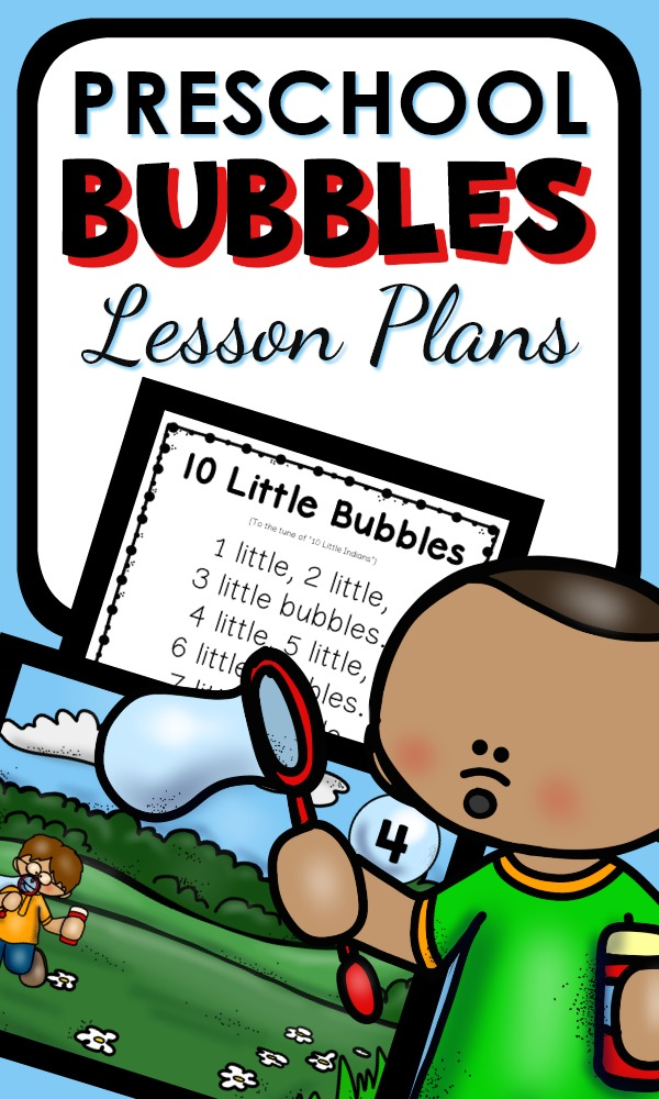 Preschool Bubble Theme Lesson Plans with reading, math, science, art, and sensory activities inspired by bubbles