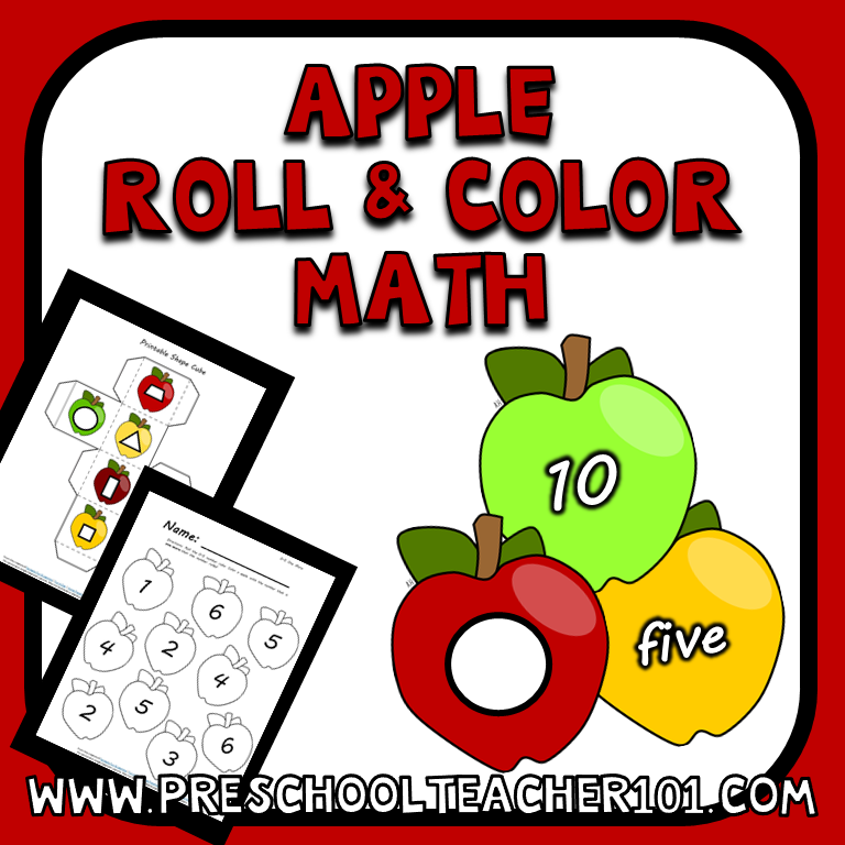 Apple Roll and Color Math Games for Preschool and Kindergarten