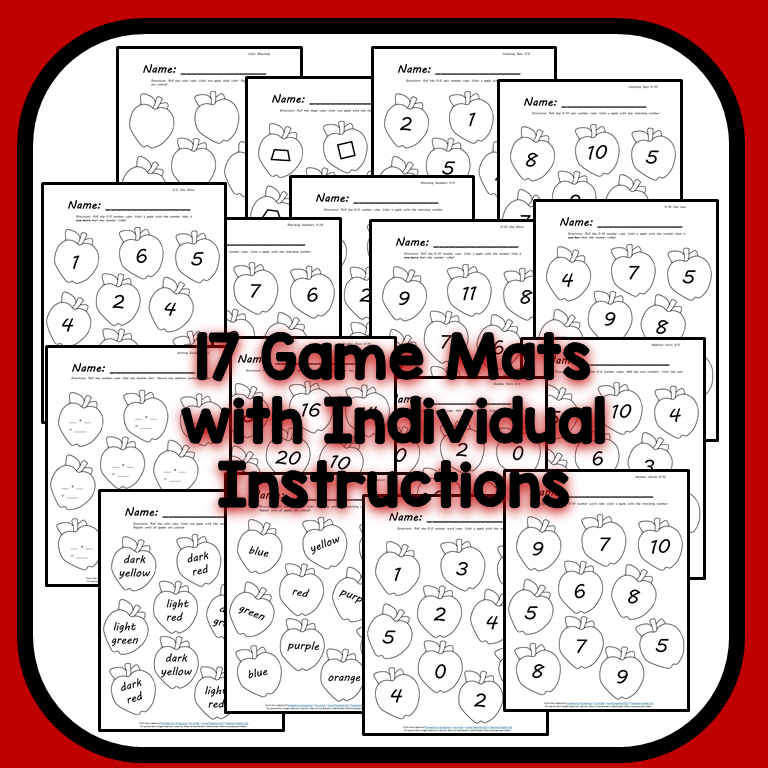 Fall Apple Math Games-Game Mats