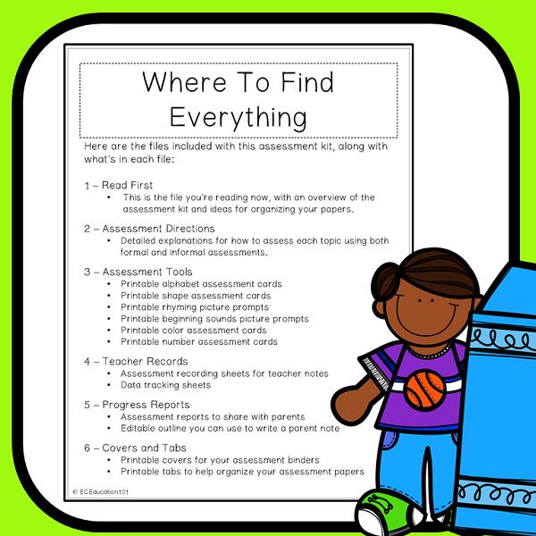 image regarding Preschool Assessment Printable identify Preschool Analysis Pack