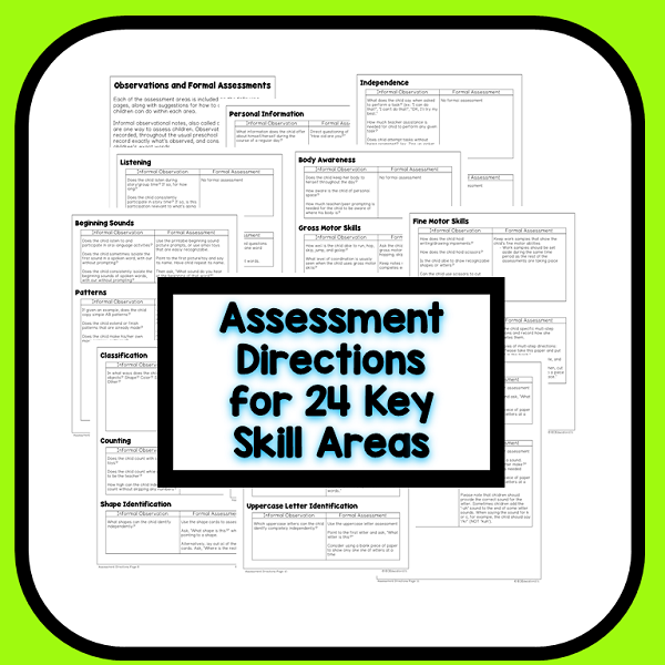 Preschool Assessment Directions