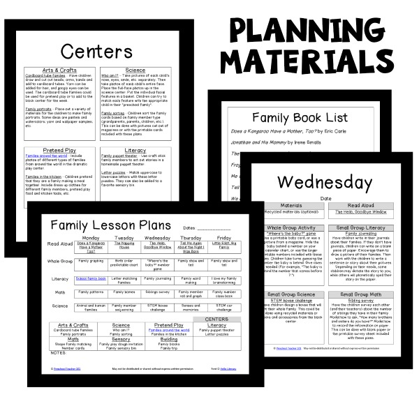 Family Theme Preschool Classroom Lesson Plans
