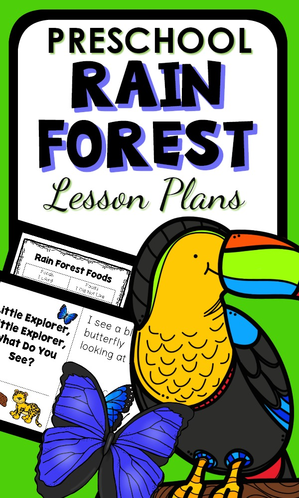 Preschool Rain Forest Activities with theme lesson plans, printables, and hands-on play activities