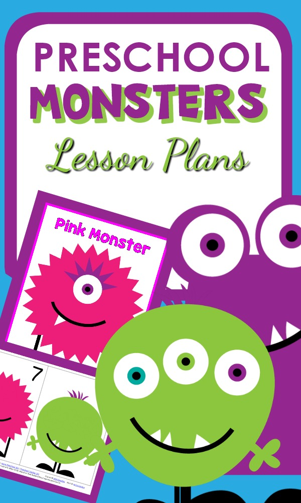 Preschool Monster Activities with printable lesson plans, hands-on activities, monster book list, and related printables