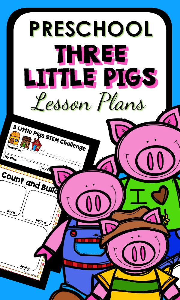 Three Little Pigs Activities for Preschool-Fun STEM Challenges, Literacy Activities, Math Games and More. Plus printable lesson plans for a 3 Little Pigs Preschool Theme