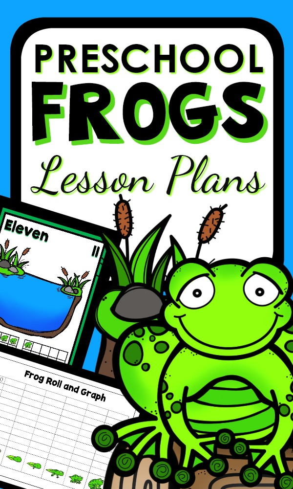 Preschool Frog Theme Activities with printable lesson plans and hands-on activities for learning about the life cycle of a frog and more