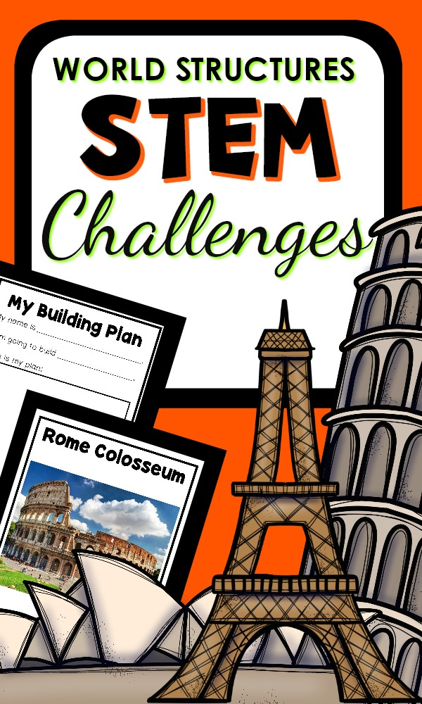 World Structures STEM Challenges for the Preschool Block Center #preschool #STEM #blockcenter
