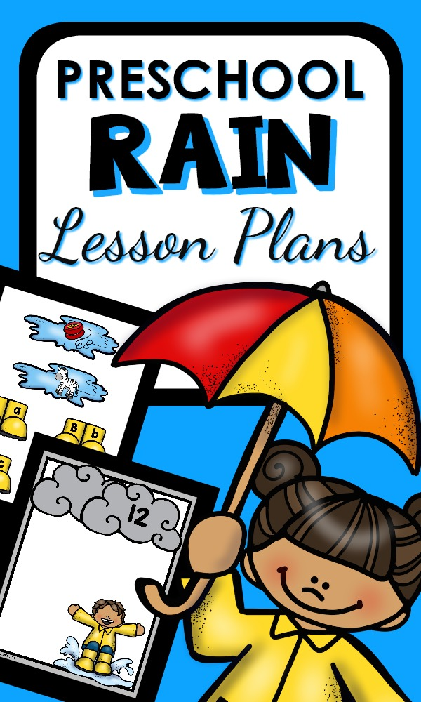 Rainy Day theme printable lesson plans with activities for kids