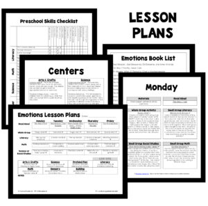 PT Planning Materials-Emotions Theme Preschool Lesson Plans
