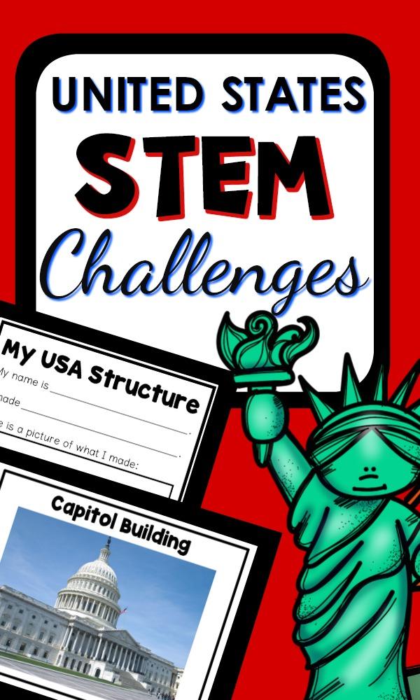 United States Structures STEM Challenges-Preschool and Kindergarten block and STEM center building prompts #STEM #preschool