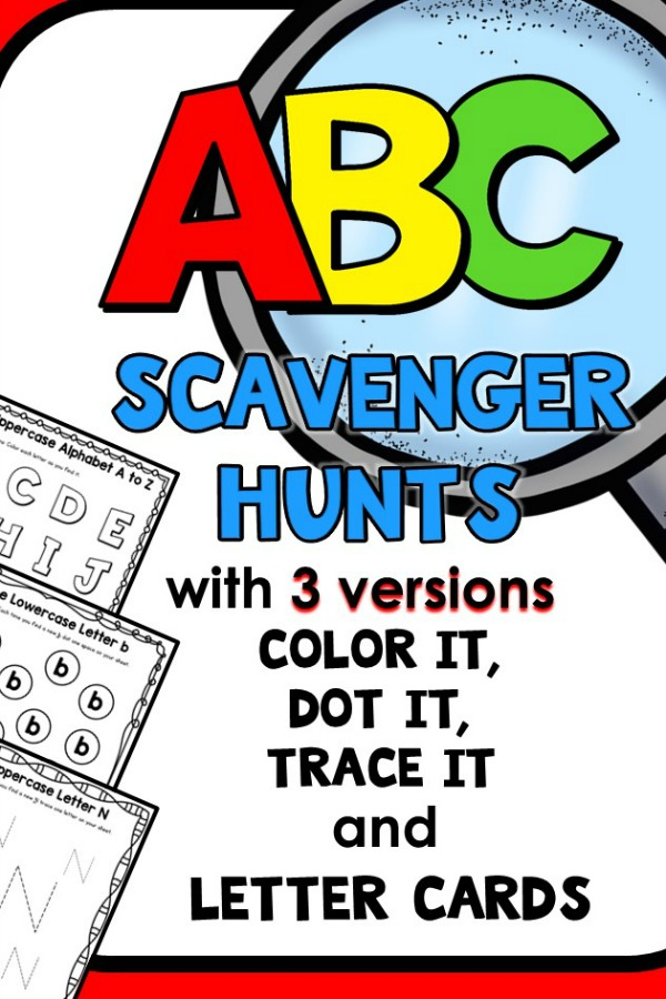 I Spy ABC Scavenger Hunt Alphabet Printables #preschool #kindergarten