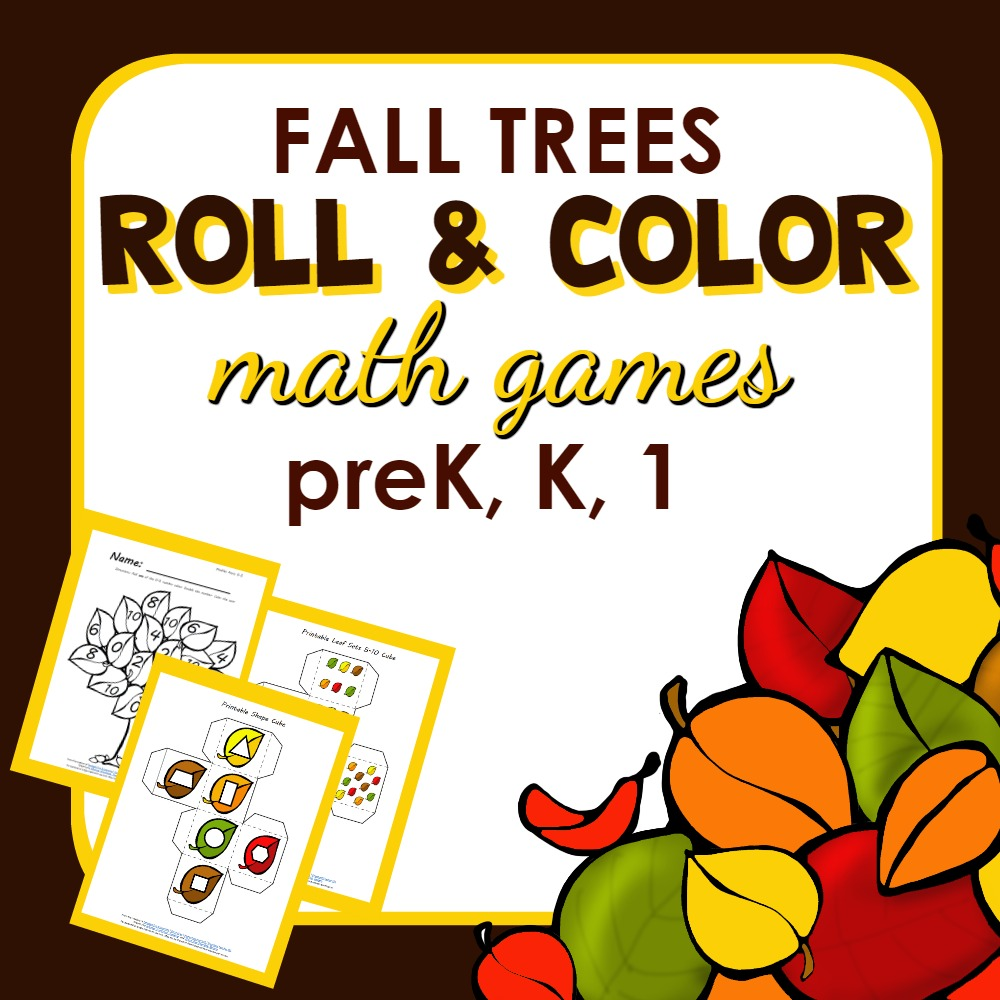 Fall Leaves Roll and Color Math Games