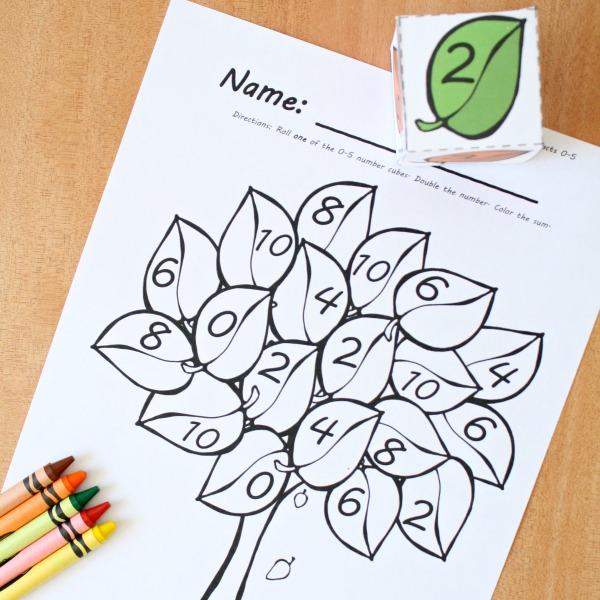 Fall Leaves Roll and Color Math Games - Preschool Teacher 101