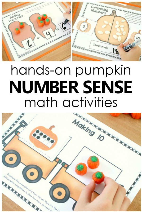 Hands-on Pumpkin Number Sense Math Games and Small Group or Math Center Activities for Fall #preschool #kindergarten #fall