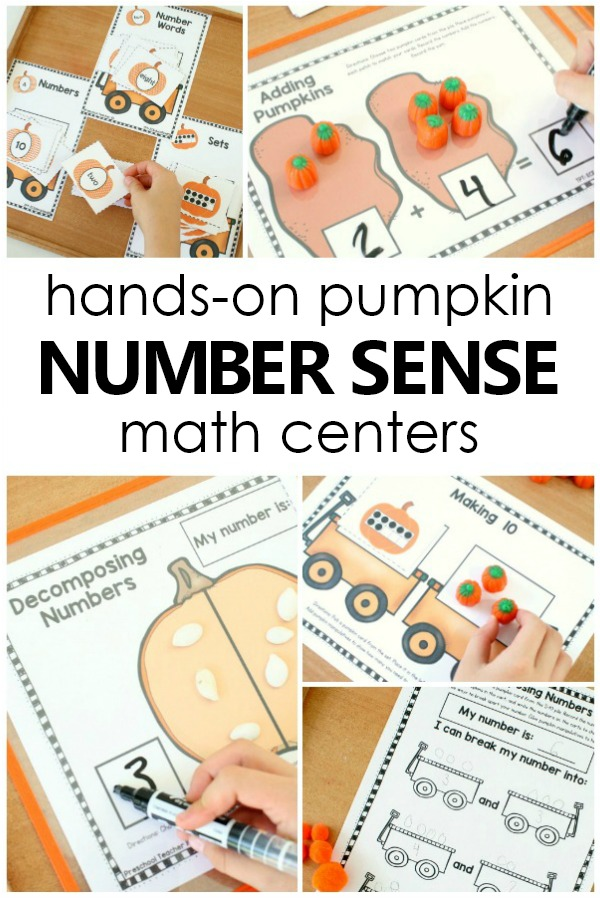 Hands-on Pumpkin Number Sense Math Games and Small Group or Math Center Activities #preschool #kindergarten #fall