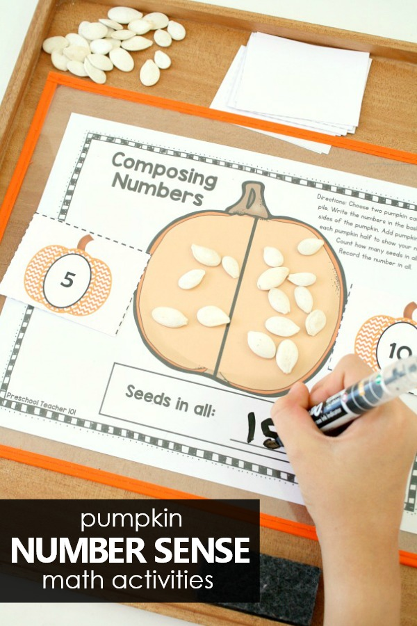 Pumpkin Number Sense Math Activities Fall Math Center Activities and Worksheets #preschool #kindergarten #fall #math