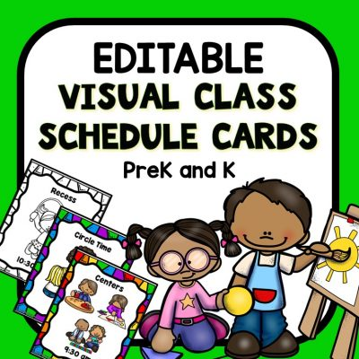 Editable Visual Schedule Cards for Preschool and Kindergarten