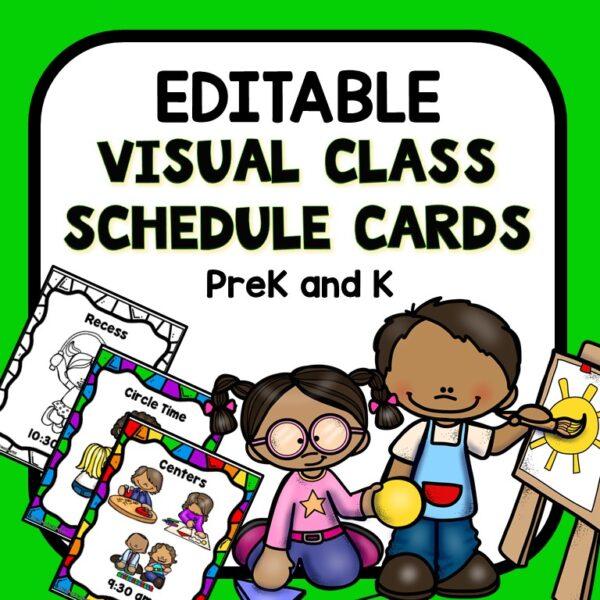 Editable Visual Schedule Cards for Preschool and Kindergarten