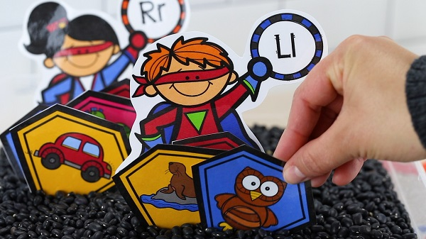 Superhero Theme Alphabet Sensory Bin