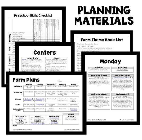 Farm Theme Preschool Lesson Plan Materials