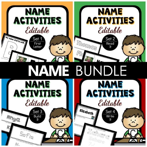 Editable Name Activities Bundle for Preschool and Kindergarten