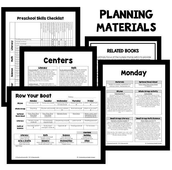 Row Your Boat Lesson Plan Planning Pages