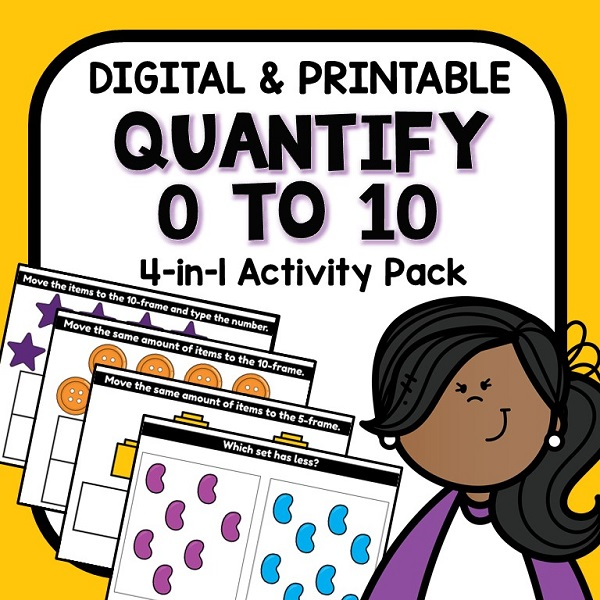Quantify Numbers 0-10 Digital Math Activities