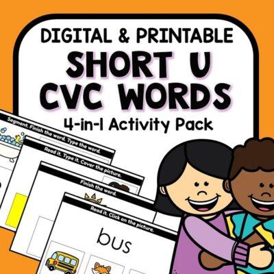 Cover -Short U CVC Digital Activities and Phonics Games